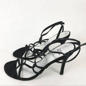 Stuart Weitzman 10 Strappy Black Heels Ankle Strap